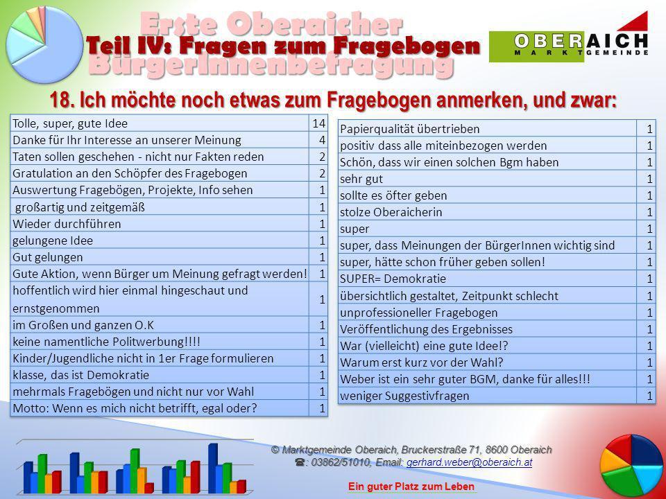 © Marktgemeinde Oberaich, Bruckerstraße 71, 8600 Oberaich : 03862/51010, Email: © Marktgemeinde Oberaich, Bruckerstraße 71, 8600 Oberaich : 03862/51010, Email: gerhard.weber@oberaich.atgerhard.weber@oberaich.at Ein guter Platz zum Leben Erste Oberaicher BürgerInnenbefragung 18.