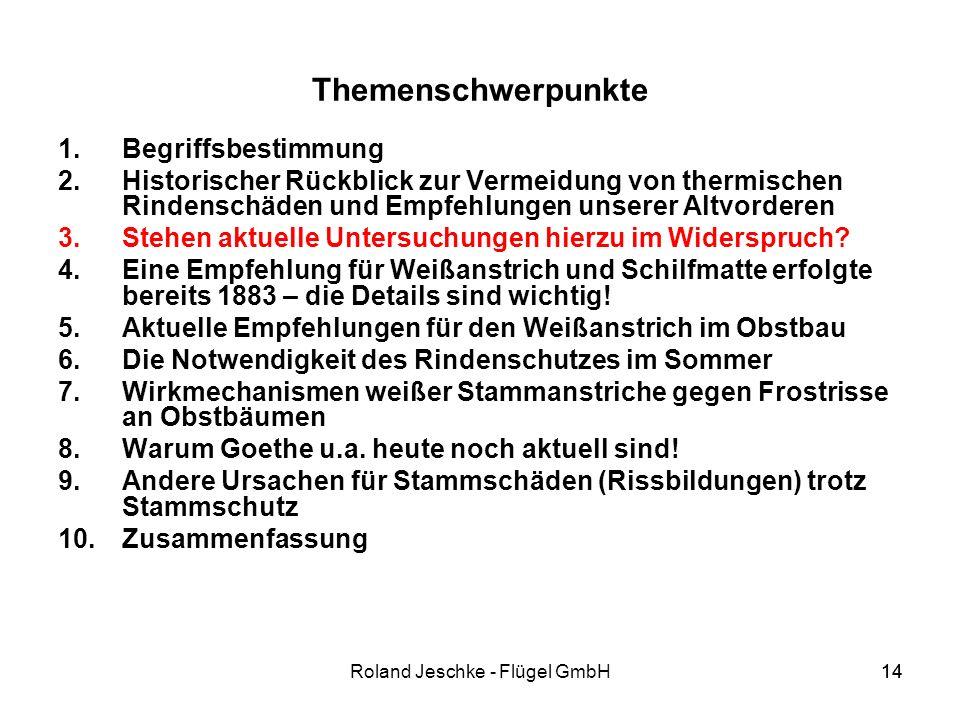 14Roland Jeschke - Flügel GmbH14 Themenschwerpunkte 1.Begriffsbestimmung 2.Historischer Rückblick zur Vermeidung von thermischen Rindenschäden und Empfehlungen unserer Altvorderen 3.Stehen aktuelle Untersuchungen hierzu im Widerspruch.