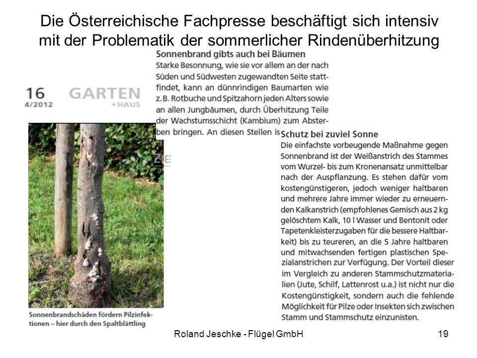 19 Die Österreichische Fachpresse beschäftigt sich intensiv mit der Problematik der sommerlicher Rindenüberhitzung Roland Jeschke - Flügel GmbH