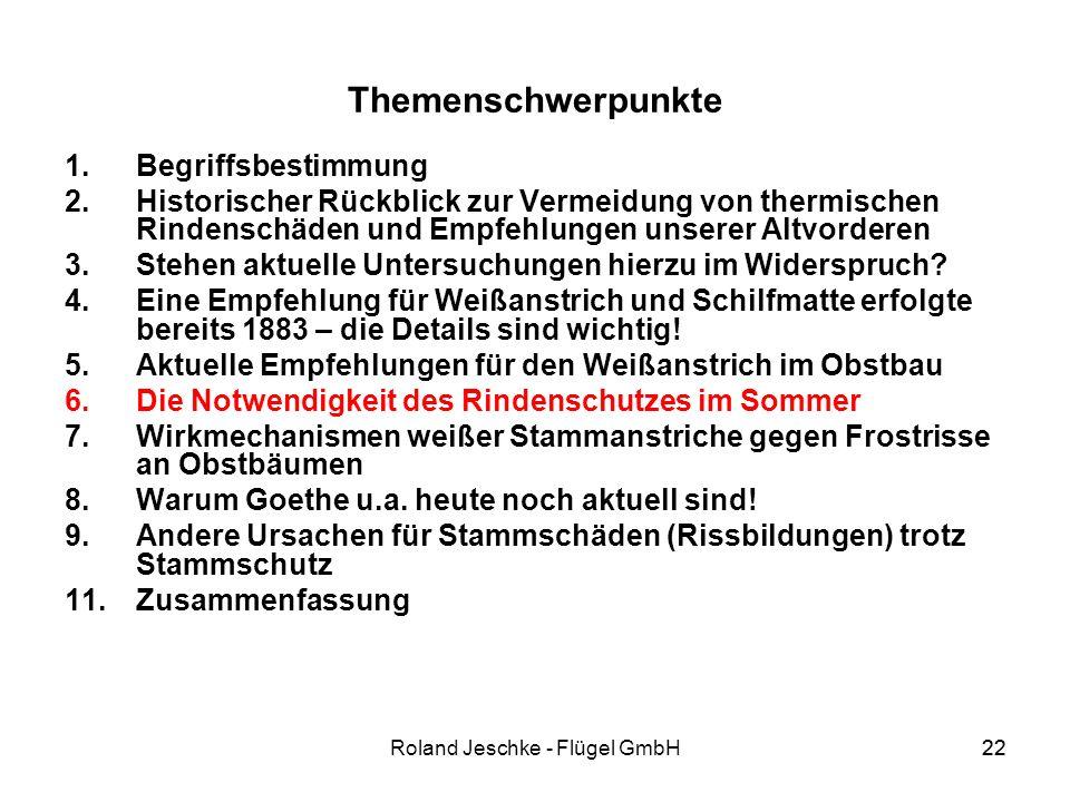 22Roland Jeschke - Flügel GmbH22 Themenschwerpunkte 1.Begriffsbestimmung 2.Historischer Rückblick zur Vermeidung von thermischen Rindenschäden und Empfehlungen unserer Altvorderen 3.Stehen aktuelle Untersuchungen hierzu im Widerspruch.