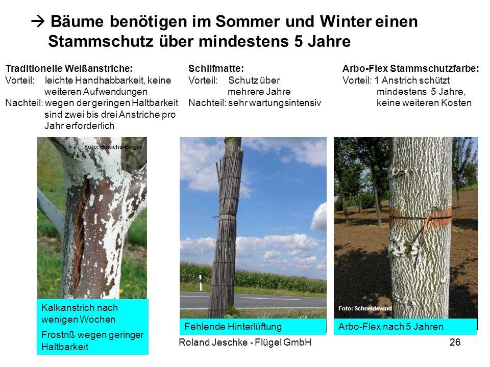 26Roland Jeschke - Flügel GmbH26 Bäume benötigen im Sommer und Winter einen Stammschutz über mindestens 5 Jahre Traditionelle Weißanstriche: Vorteil: leichte Handhabbarkeit, keine weiteren Aufwendungen Nachteil: wegen der geringen Haltbarkeit sind zwei bis drei Anstriche pro Jahr erforderlich Schilfmatte: Vorteil: Schutz über mehrere Jahre Nachteil: sehr wartungsintensiv Fehlende Hinterlüftung Arbo-Flex Stammschutzfarbe: Vorteil: 1 Anstrich schützt mindestens 5 Jahre, keine weiteren Kosten Arbo-Flex nach 5 Jahren Kalkanstrich nach wenigen Wochen Frostriß wegen geringer Haltbarkeit Foto: Schneidewind Foto: Hinrichs-Berger