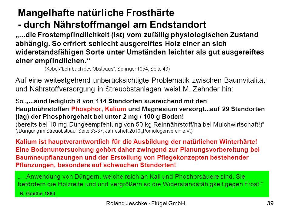 39Roland Jeschke - Flügel GmbH39 Mangelhafte natürliche Frosthärte - durch Nährstoffmangel am Endstandort...die Frostempfindlichkeit (ist) vom zufällig physiologischen Zustand abhängig.