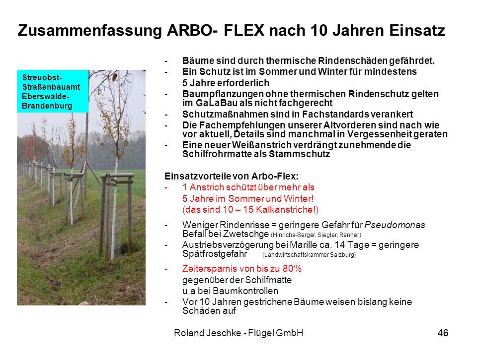 46Roland Jeschke - Flügel GmbH46 Zusammenfassung ARBO- FLEX nach 10 Jahren Einsatz -Bäume sind durch thermische Rindenschäden gefährdet.