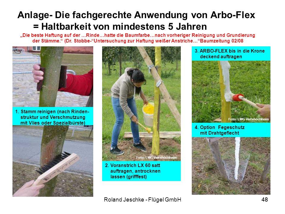 48Roland Jeschke - Flügel GmbH48 Anlage- Die fachgerechte Anwendung von Arbo-Flex = Haltbarkeit von mindestens 5 Jahren 2.