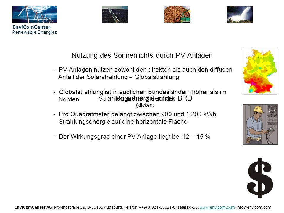 EnviComCenter Renewable Energies EnviComCenter AG, Provinostraße 52, D-86153 Augsburg, Telefon +49(0)821-56081-0, Telefax -30, www.envicom.com, info@envicom.comwww.envicom.com Netzeinspeisung Solarstrom (klicken) Sonne Strahlungsenergie in der BRD (klicken)