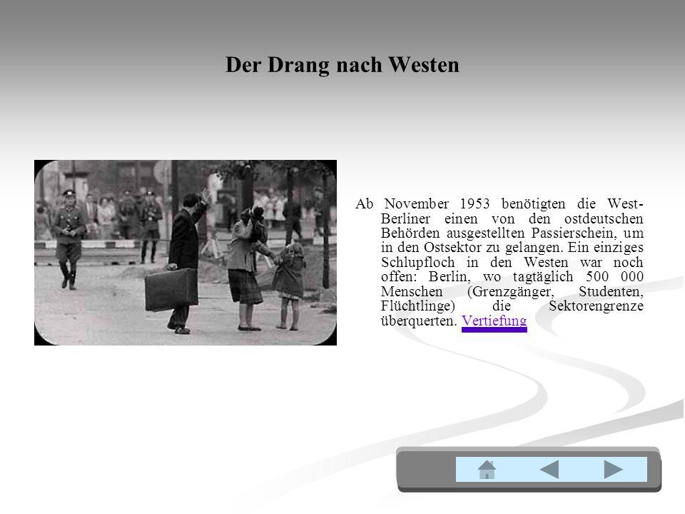 Der Drang nach Westen Ab November 1953 benötigten die West- Berliner einen von den ostdeutschen Behörden ausgestellten Passierschein, um in den Ostsektor zu gelangen.