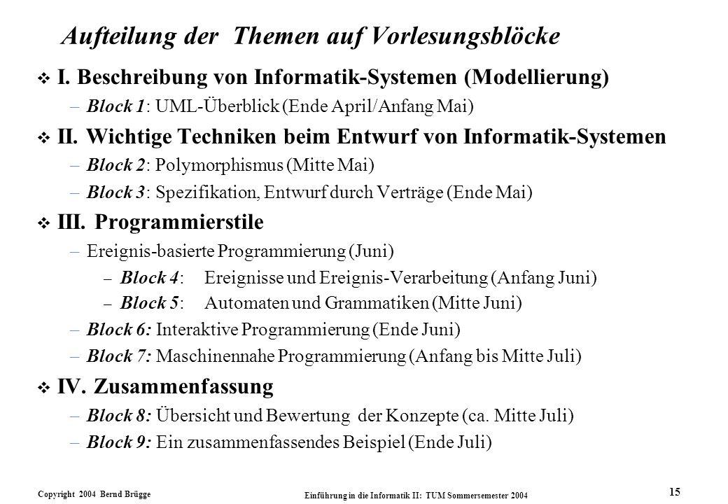 Copyright 2004 Bernd Brügge Einführung in die Informatik II: TUM Sommersemester 2004 15 Aufteilung der Themen auf Vorlesungsblöcke v I. Beschreibung v