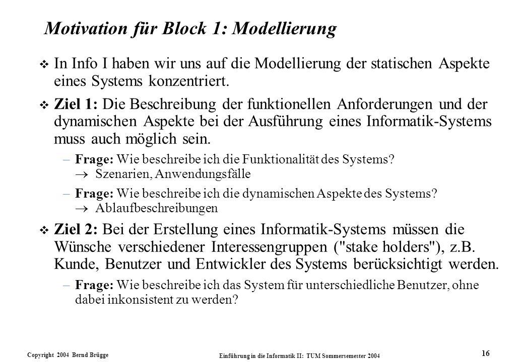 Copyright 2004 Bernd Brügge Einführung in die Informatik II: TUM Sommersemester 2004 16 Motivation für Block 1: Modellierung v In Info I haben wir uns auf die Modellierung der statischen Aspekte eines Systems konzentriert.