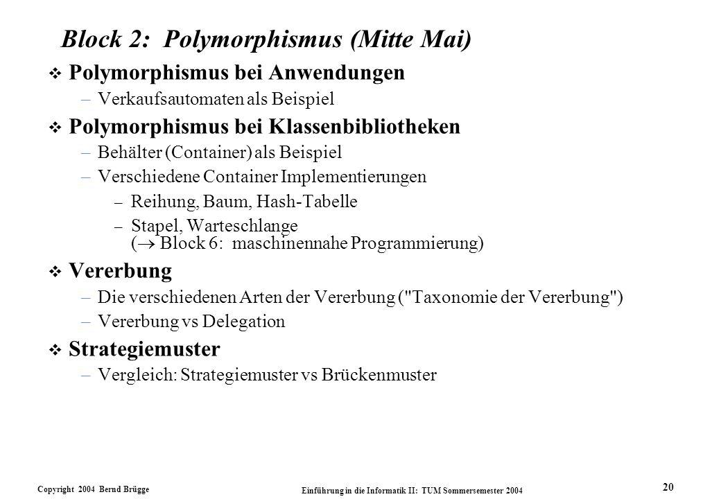 Copyright 2004 Bernd Brügge Einführung in die Informatik II: TUM Sommersemester 2004 20 Block 2: Polymorphismus (Mitte Mai) v Polymorphismus bei Anwendungen –Verkaufsautomaten als Beispiel v Polymorphismus bei Klassenbibliotheken –Behälter (Container) als Beispiel –Verschiedene Container Implementierungen – Reihung, Baum, Hash-Tabelle – Stapel, Warteschlange ( Block 6: maschinennahe Programmierung) v Vererbung –Die verschiedenen Arten der Vererbung ( Taxonomie der Vererbung ) –Vererbung vs Delegation v Strategiemuster –Vergleich: Strategiemuster vs Brückenmuster