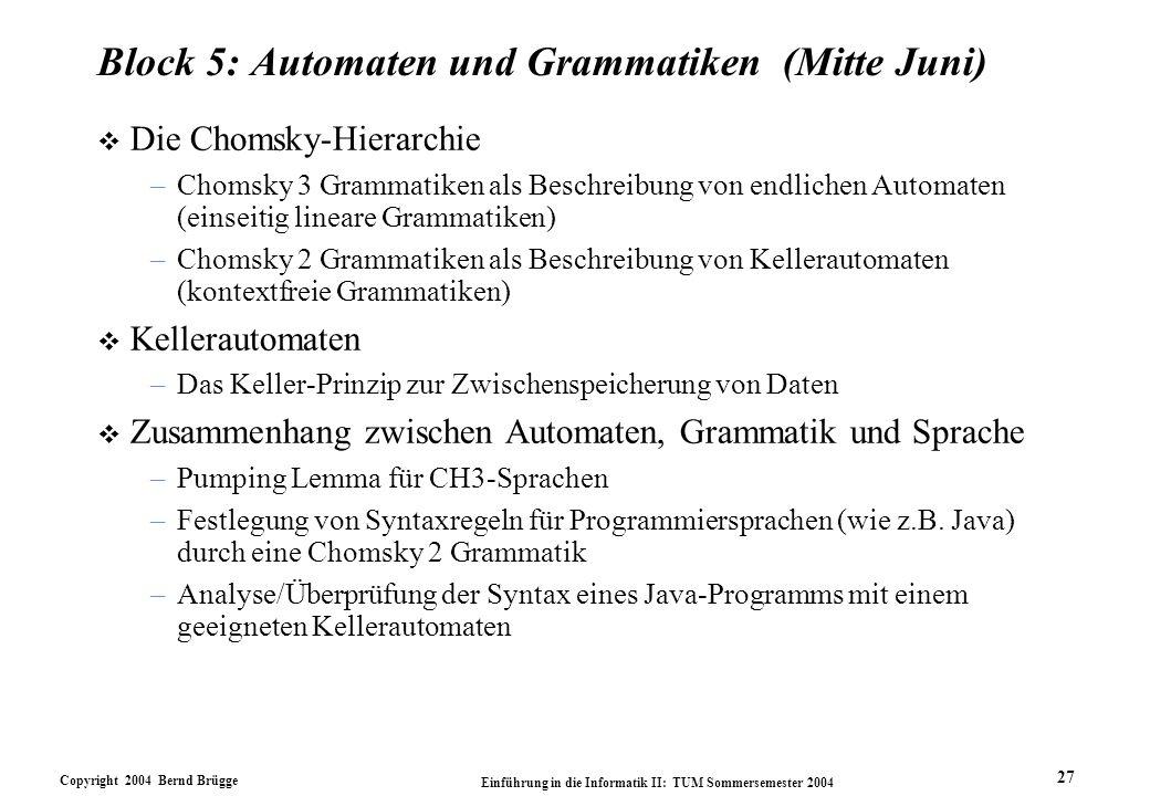Copyright 2004 Bernd Brügge Einführung in die Informatik II: TUM Sommersemester 2004 27 Block 5: Automaten und Grammatiken (Mitte Juni) v Die Chomsky-