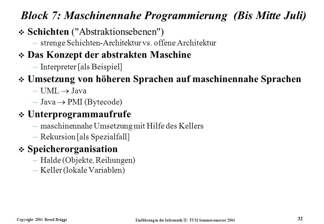Copyright 2004 Bernd Brügge Einführung in die Informatik II: TUM Sommersemester 2004 32 Block 7: Maschinennahe Programmierung (Bis Mitte Juli) v Schichten ( Abstraktionsebenen ) –strenge Schichten-Architektur vs.
