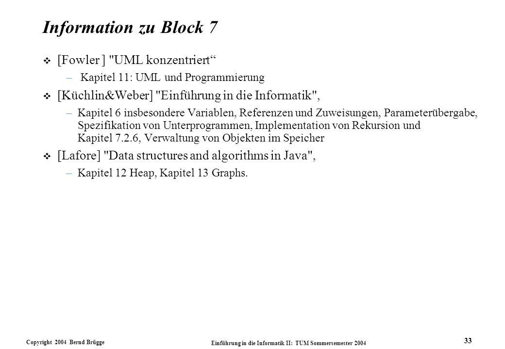 Copyright 2004 Bernd Brügge Einführung in die Informatik II: TUM Sommersemester 2004 33 Information zu Block 7 v [Fowler ] UML konzentriert – Kapitel 11: UML und Programmierung v [Küchlin&Weber] Einführung in die Informatik , –Kapitel 6 insbesondere Variablen, Referenzen und Zuweisungen, Parameterübergabe, Spezifikation von Unterprogrammen, Implementation von Rekursion und Kapitel 7.2.6, Verwaltung von Objekten im Speicher v [Lafore] Data structures and algorithms in Java , –Kapitel 12 Heap, Kapitel 13 Graphs.