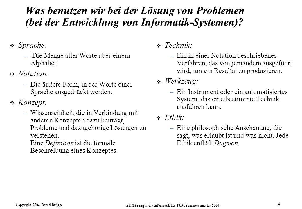 Copyright 2004 Bernd Brügge Einführung in die Informatik II: TUM Sommersemester 2004 5 Sprache bei der Entwicklung von Informatik-Systemen v Definition: Die Menge aller Worte über einem Alphabet.