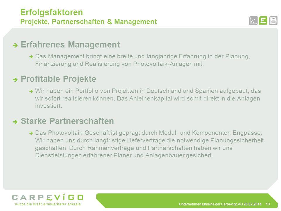 Unternehmensanleihe der Carpevigo AG 28.02.201413 Erfolgsfaktoren Projekte, Partnerschaften & Management Erfahrenes Management Das Management bringt e