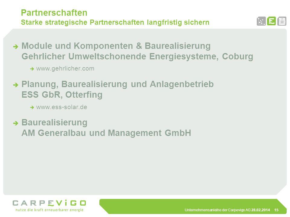 Unternehmensanleihe der Carpevigo AG 28.02.201415 Partnerschaften Starke strategische Partnerschaften langfristig sichern Module und Komponenten & Bau
