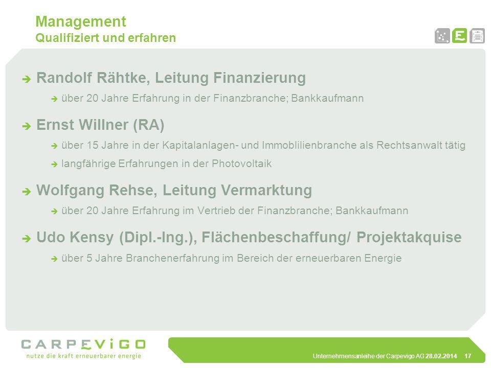Unternehmensanleihe der Carpevigo AG 28.02.201417 Management Qualifiziert und erfahren Randolf Rähtke, Leitung Finanzierung über 20 Jahre Erfahrung in