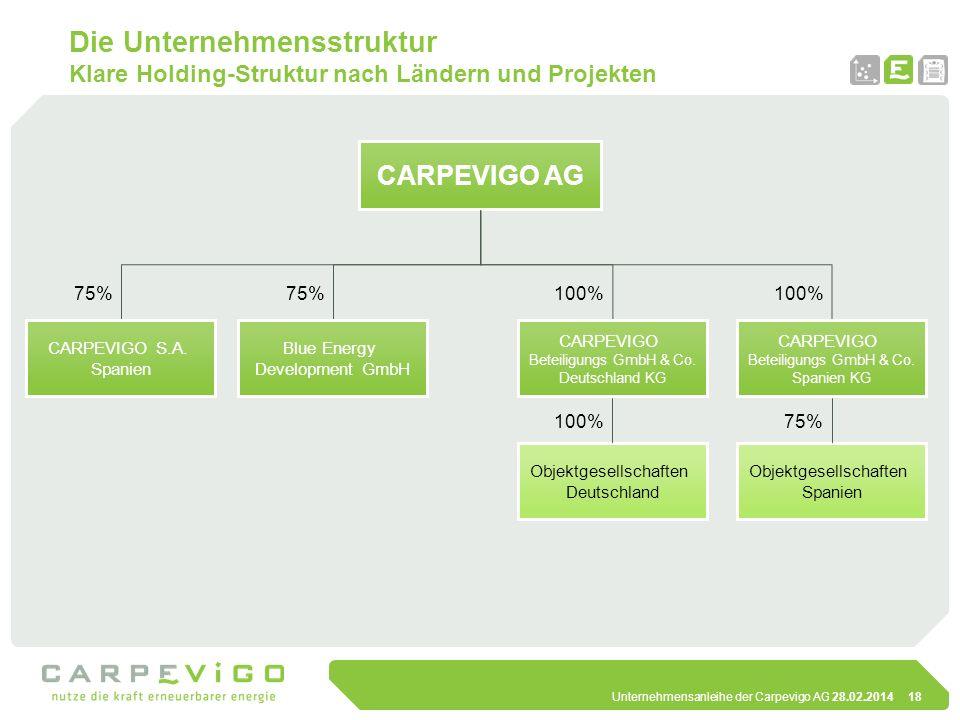 Unternehmensanleihe der Carpevigo AG 28.02.201418 Die Unternehmensstruktur Klare Holding-Struktur nach Ländern und Projekten Blue Energy Development G