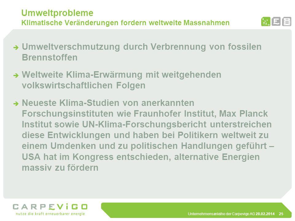 Unternehmensanleihe der Carpevigo AG 28.02.201425 Umweltprobleme Klimatische Veränderungen fordern weltweite Massnahmen Umweltverschmutzung durch Verb