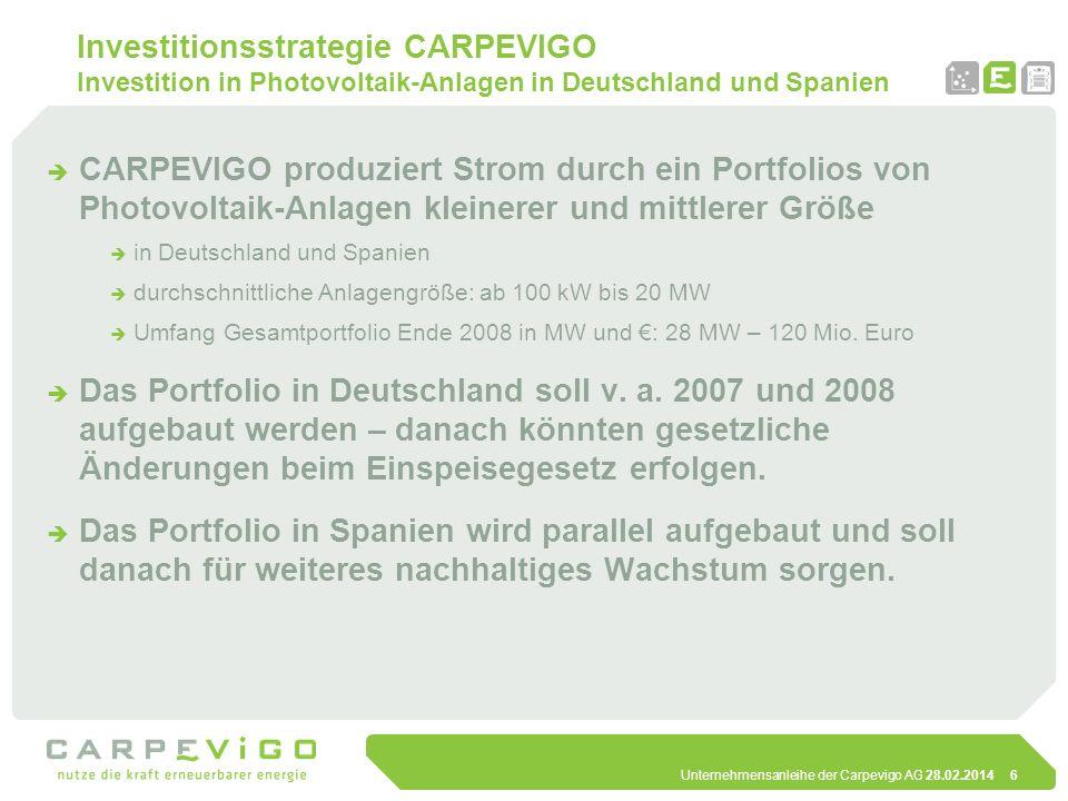Unternehmensanleihe der Carpevigo AG 28.02.20147 Investitionsstrategie CARPEVIGO Investition in Photovoltaik-Anlagen in Deutschland und Spanien Warum Deutschland und Spanien reife Märkte für erneuerbare Energien, d.h.