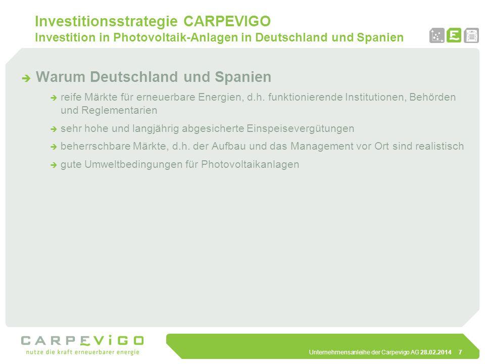 Unternehmensanleihe der Carpevigo AG 28.02.20147 Investitionsstrategie CARPEVIGO Investition in Photovoltaik-Anlagen in Deutschland und Spanien Warum