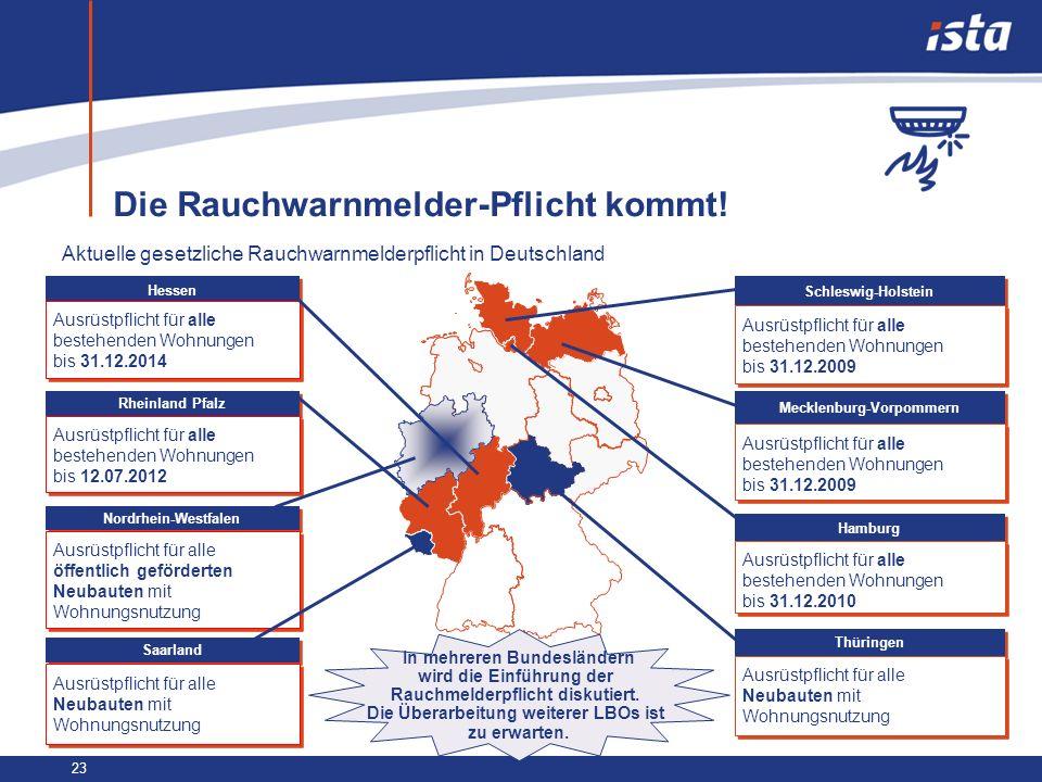 23 Die Rauchwarnmelder-Pflicht kommt! Aktuelle gesetzliche Rauchwarnmelderpflicht in Deutschland Hessen Ausrüstpflicht für alle bestehenden Wohnungen
