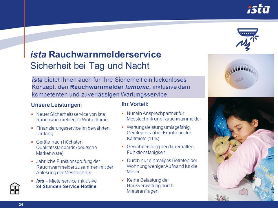 24 ista Rauchwarnmelderservice Sicherheit bei Tag und Nacht Unsere Leistungen: Neuer Sicherheitsservice von ista: Rauchwarnmelder für Wohnräume Finanz