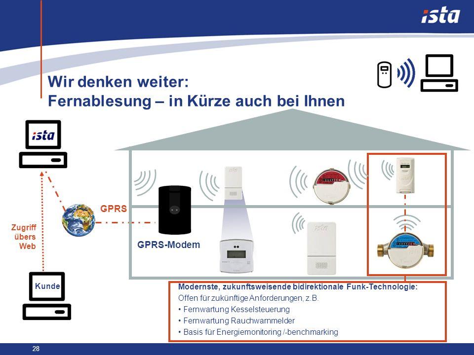 28 Wir denken weiter: Fernablesung – in Kürze auch bei Ihnen GPRS Kunde Zugriff übers Web Modernste, zukunftsweisende bidirektionale Funk-Technologie: