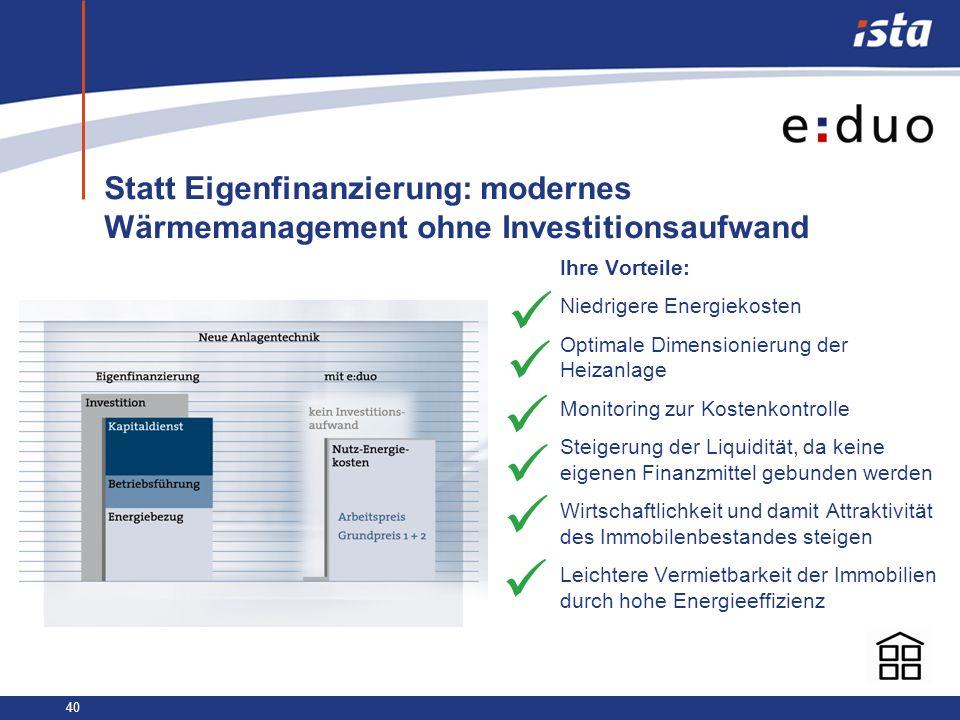 40 Statt Eigenfinanzierung: modernes Wärmemanagement ohne Investitionsaufwand Ihre Vorteile: Niedrigere Energiekosten Optimale Dimensionierung der Hei