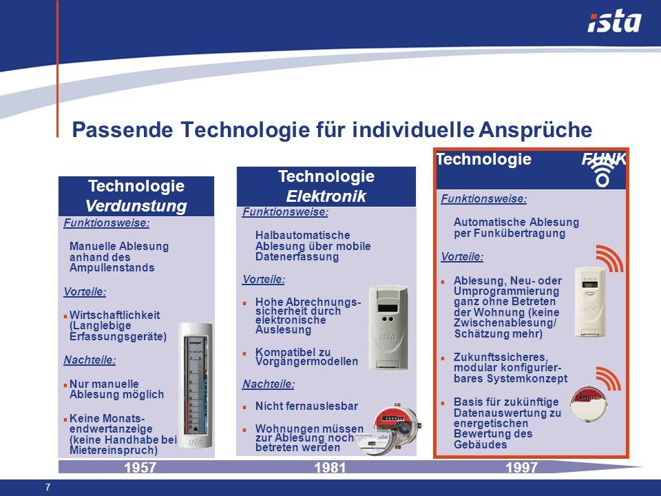 7 Passende Technologie für individuelle Ansprüche Technologie Verdunstung Funktionsweise: Manuelle Ablesung anhand des Ampullenstands Vorteile: n Wirt