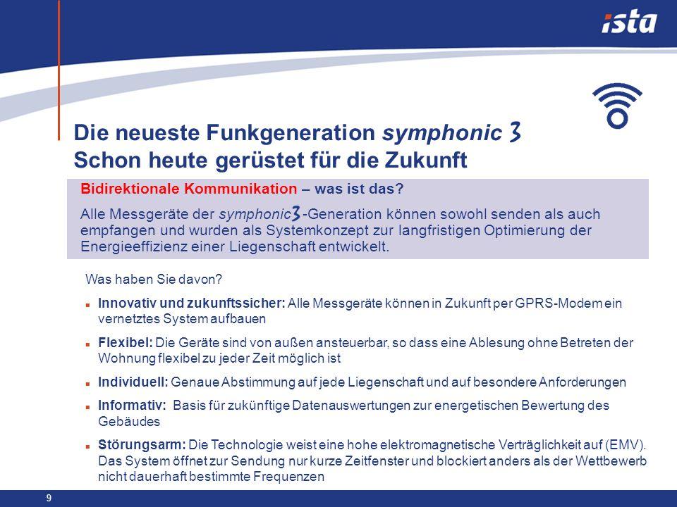 9 Die neueste Funkgeneration symphonic Schon heute gerüstet für die Zukunft Bidirektionale Kommunikation – was ist das? Alle Messgeräte der symphonic
