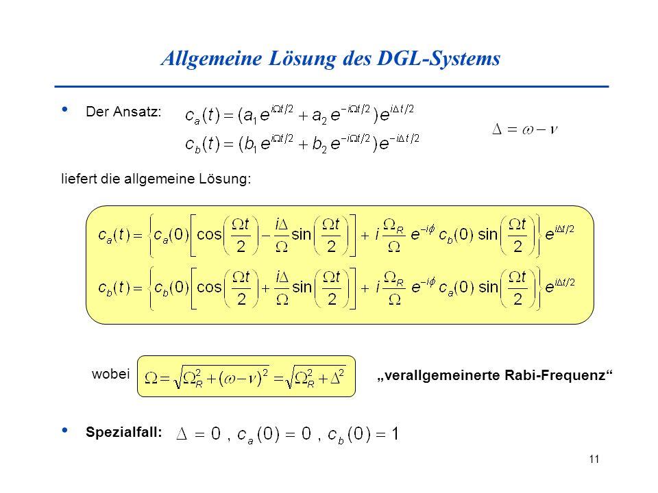 11 Allgemeine Lösung des DGL-Systems Der Ansatz: liefert die allgemeine Lösung: wobei verallgemeinerte Rabi-Frequenz Spezialfall: