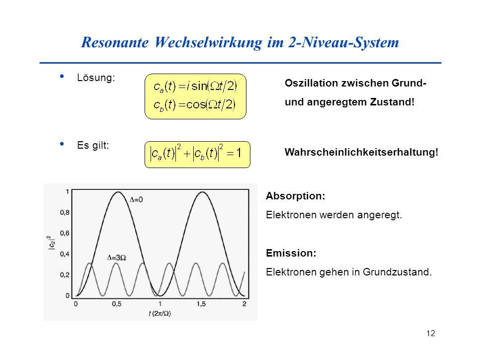 12 Resonante Wechselwirkung im 2-Niveau-System Lösung: Oszillation zwischen Grund- und angeregtem Zustand! Es gilt: Wahrscheinlichkeitserhaltung! Abso
