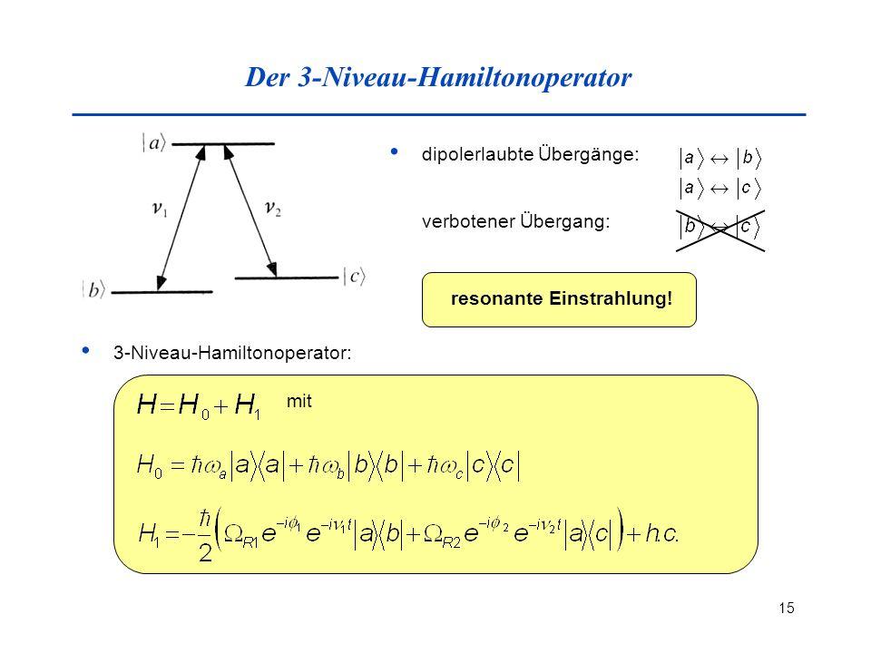 15 Der 3-Niveau-Hamiltonoperator dipolerlaubte Übergänge: verbotener Übergang: resonante Einstrahlung! 3-Niveau-Hamiltonoperator: mit