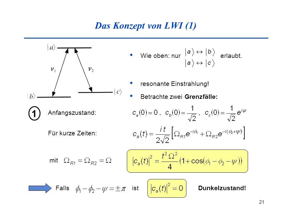 21 Das Konzept von LWI (1) Wie oben: nur erlaubt. resonante Einstrahlung! Betrachte zwei Grenzfälle: Anfangszustand: 1 Für kurze Zeiten: mit FallsistD