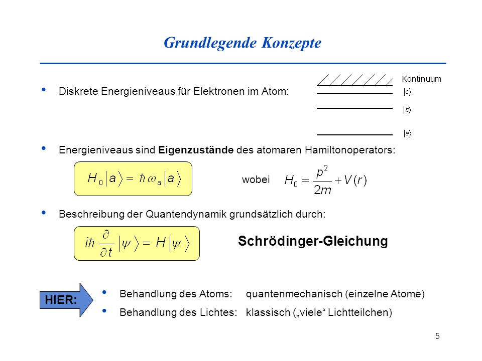 5 Grundlegende Konzepte Diskrete Energieniveaus für Elektronen im Atom: Kontinuum Energieniveaus sind Eigenzustände des atomaren Hamiltonoperators: wo