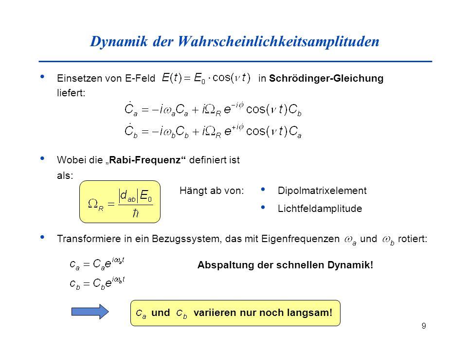 9 Dynamik der Wahrscheinlichkeitsamplituden Einsetzen von E-Feld in Schrödinger-Gleichung liefert: Wobei die Rabi-Frequenz definiert ist als: Hängt ab von: Dipolmatrixelement Lichtfeldamplitude Transformiere in ein Bezugssystem, das mit Eigenfrequenzen und rotiert: Abspaltung der schnellen Dynamik.