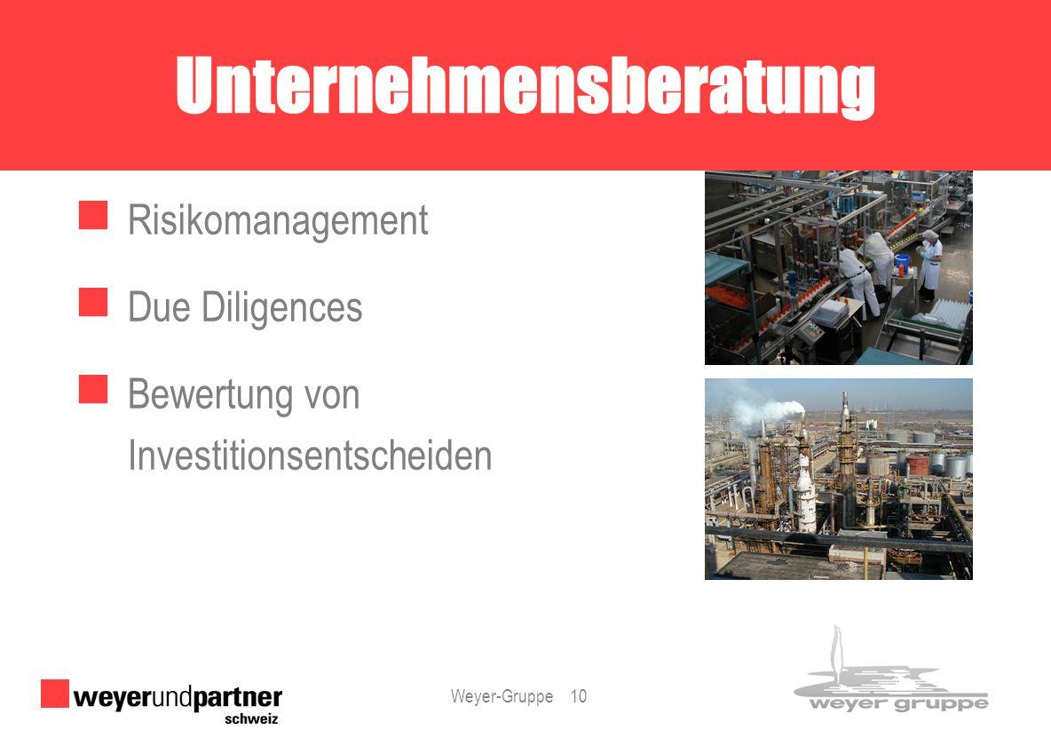 Weyer-Gruppe 10 Risikomanagement Due Diligences Bewertung von Investitionsentscheiden Unternehmensberatung