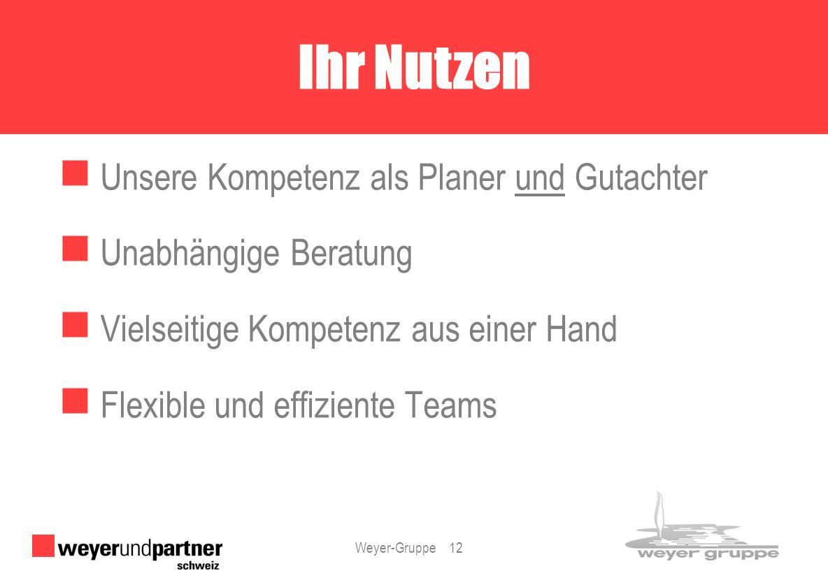 Weyer-Gruppe 12 Unsere Kompetenz als Planer und Gutachter Unabhängige Beratung Vielseitige Kompetenz aus einer Hand Flexible und effiziente Teams Ihr