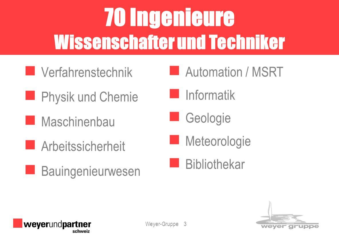 Weyer-Gruppe 3 Verfahrenstechnik Physik und Chemie Maschinenbau Arbeitssicherheit Bauingenieurwesen Automation / MSRT Informatik Geologie Meteorologie