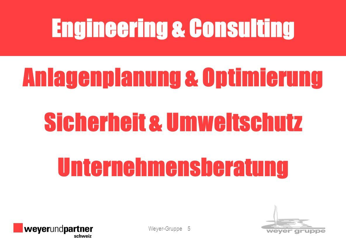 Weyer-Gruppe 5 Anlagenplanung & Optimierung Sicherheit & Umweltschutz Unternehmensberatung Engineering & Consulting