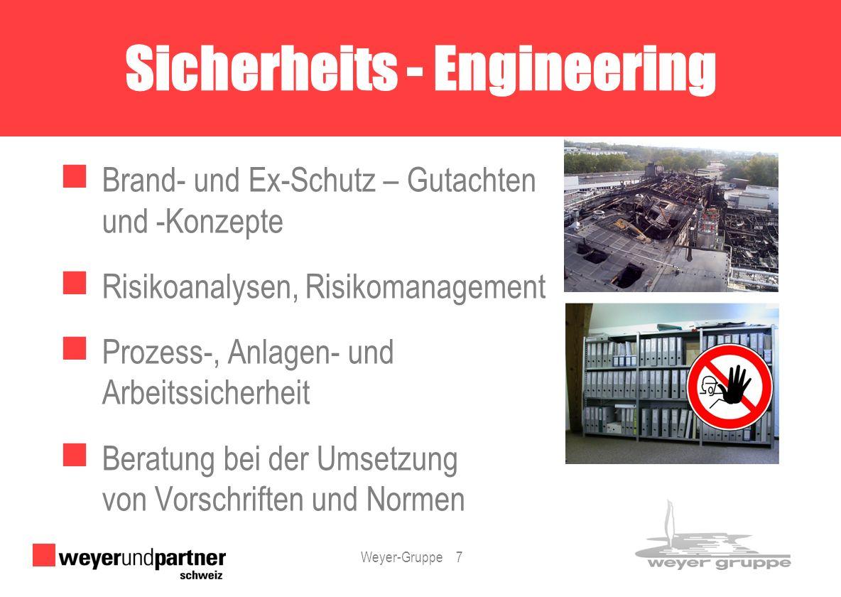 Weyer-Gruppe 7 Brand- und Ex-Schutz – Gutachten und -Konzepte Risikoanalysen, Risikomanagement Prozess-, Anlagen- und Arbeitssicherheit Beratung bei d