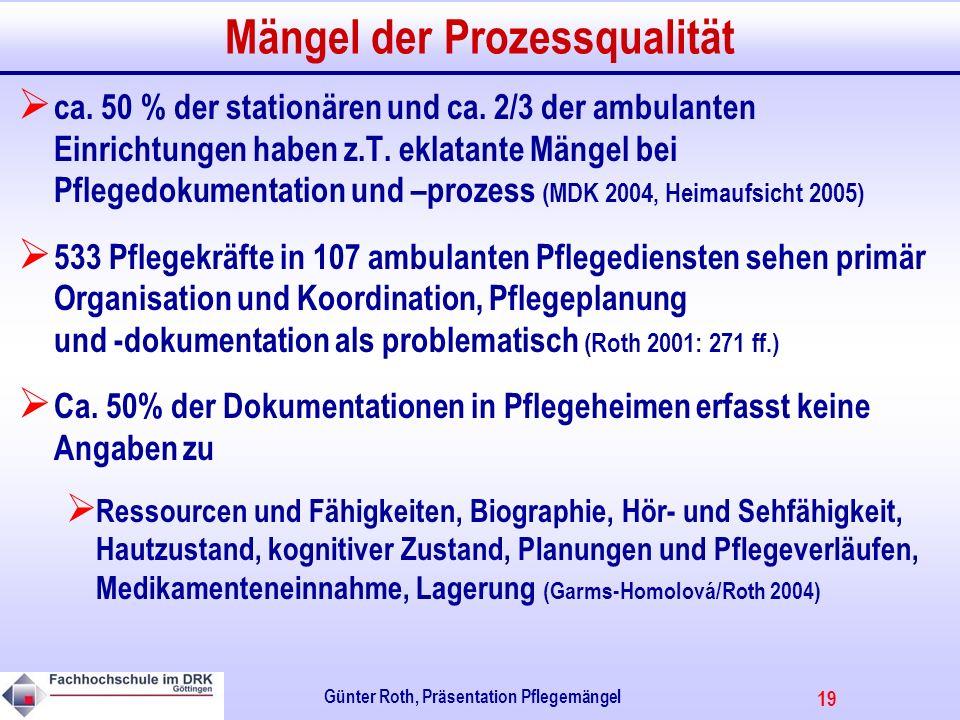 19 Günter Roth, Präsentation Pflegemängel Mängel der Prozessqualität ca.