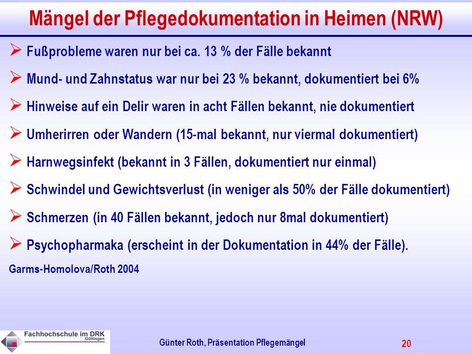 20 Günter Roth, Präsentation Pflegemängel Mängel der Pflegedokumentation in Heimen (NRW) Fußprobleme waren nur bei ca.