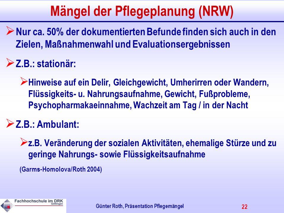 22 Günter Roth, Präsentation Pflegemängel Mängel der Pflegeplanung (NRW) Nur ca.