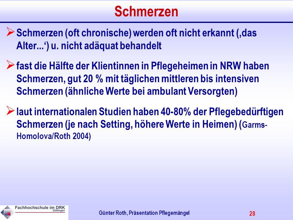28 Günter Roth, Präsentation Pflegemängel Schmerzen Schmerzen (oft chronische) werden oft nicht erkannt (das Alter...) u.