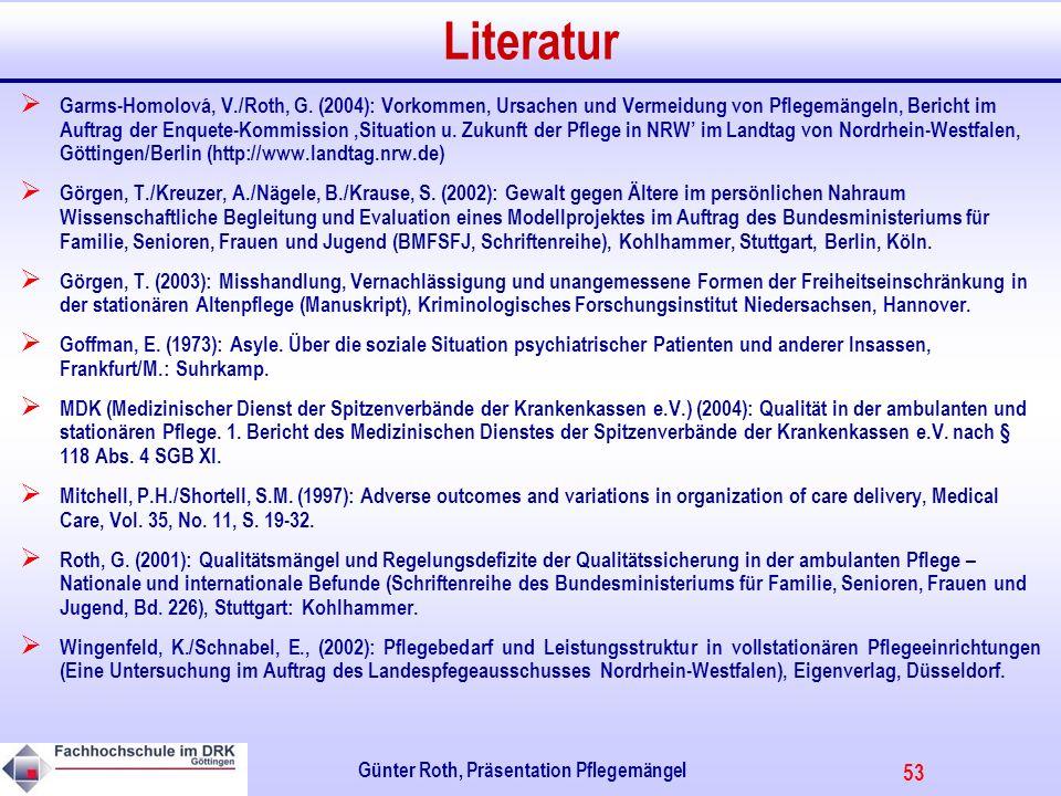 53 Günter Roth, Präsentation Pflegemängel Literatur Garms-Homolová, V./Roth, G.
