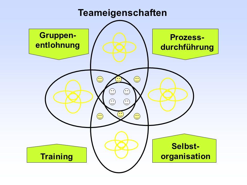Teameigenschaften Gruppen- entlohnung Prozess- durchführung Training Selbst- organisation