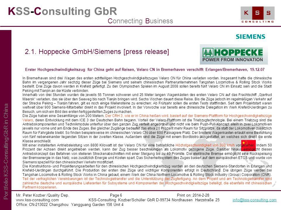 KSS-Consulting GbR Mr. Peter Kozber /Quality Dep. Page 6 Print on: 2014-2-28 www.kss-consulting.com KSS-Consulting Kozber/Schüller GbR D-99734 Nordhau