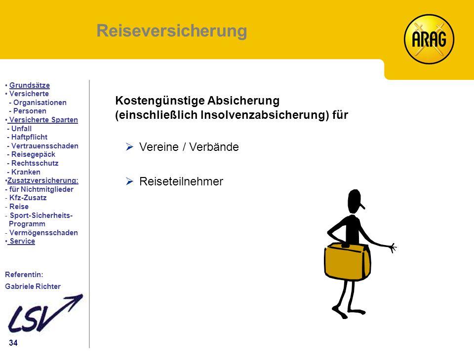 34 Inhalt Grundsätze Versicherte - Organisationen - Personen Versicherte Sparten - Unfall - Haftpflicht - Vertrauensschaden - Reisegepäck - Rechtsschu
