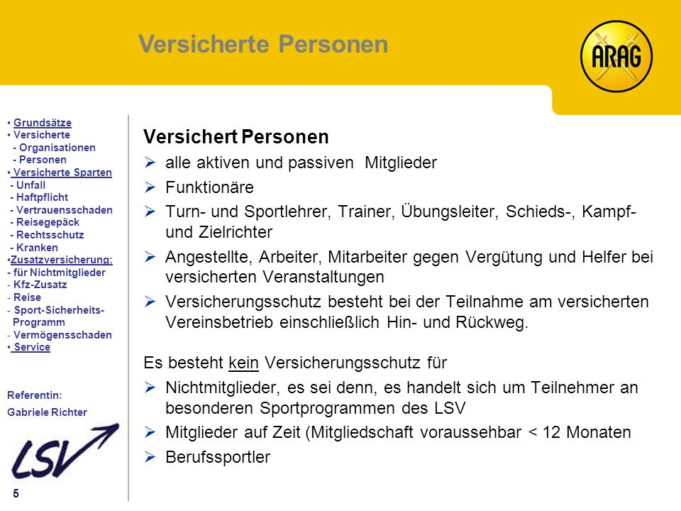 5 Inhalt Grundsätze Versicherte - Organisationen - Personen Versicherte Sparten - Unfall - Haftpflicht - Vertrauensschaden - Reisegepäck - Rechtsschut